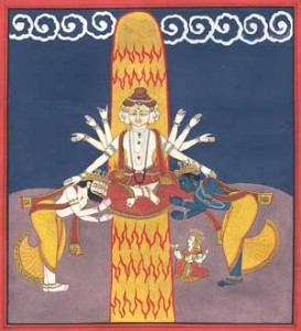 An example of the stylized penis, or linga, as represented in art.  Shiva sits before it; Brahma and Vishnu are bowing to him.