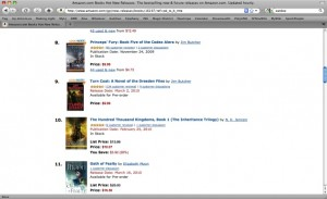 Screenshot of Amazon's list of hot new releases; 100K at #10