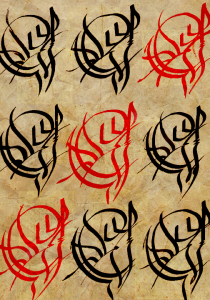 rows of sigils written as practice
