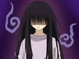 Sunako, the protagonist of Yamato Nadeshiko Shichihenge; image shows a depressed-looking girl in a tatty sweatshirt, with long unkempt hair that hides her face, and no expression.
