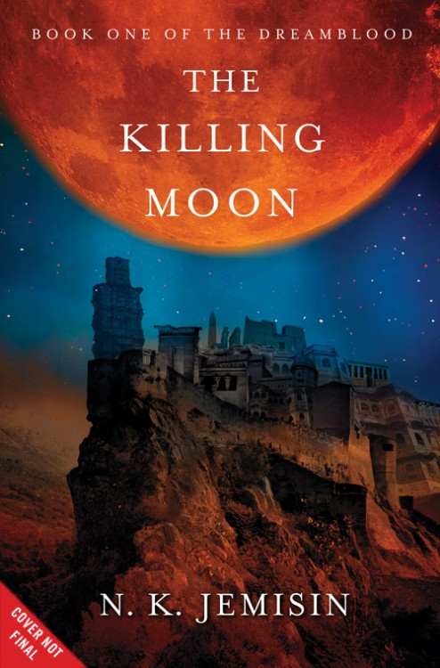 Preliminary cover of THE KILLING MOON, showing an ancient city beneath a giant red moon