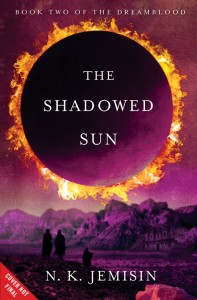 Cover for The Shadowed Sun features an eclipsed sun over a desert