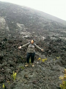 Me hiking Kilauea Iki; standing in hiking gear making goofy face