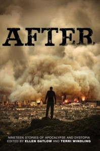 Cover of anthology. Person's silhouette against image of a burning city.