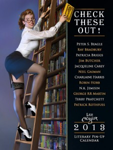 Calendar cover shows woman on a stepladder reaching for a book, pinup style.