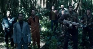 Still from the movie Predators. Shows all main cast members, including one black guy, one woman, etc.