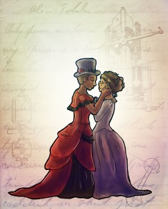 two women in 1800s dresses, one in tophat and other in glasses, sharing a romantic moment
