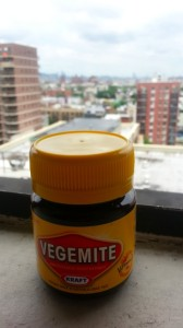 Little Vegemite in the big city. Small jar with Brooklyn & Manhattan in the background.