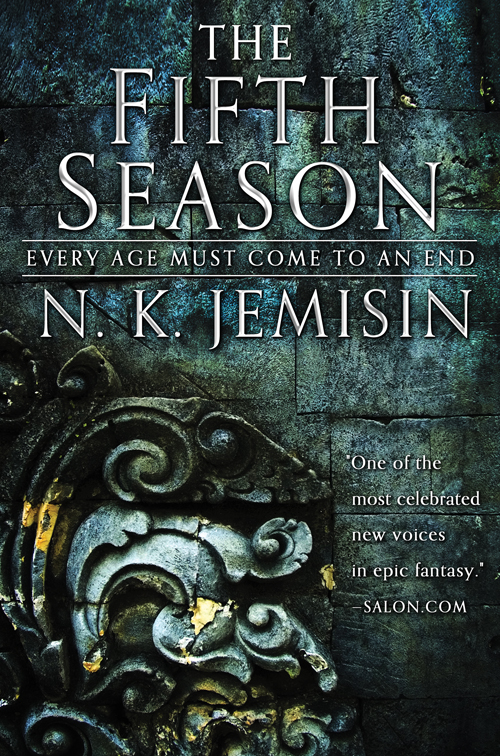 "Book cover featuring a stone embossing flecked with gold inlay. Text reads ""THE FIFTH SEASON. Every age must come to an end. N. K. Jemisin"""
