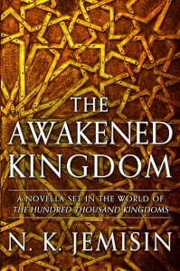 Awakened Kingdom ebook cover - shows stylized brassy stars exploding on a burgundy background, and book title.