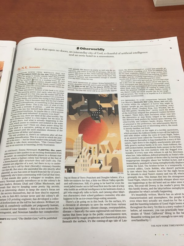 photo of a newsprint page from the NYT Sunday Book Review. Print is too small to see.