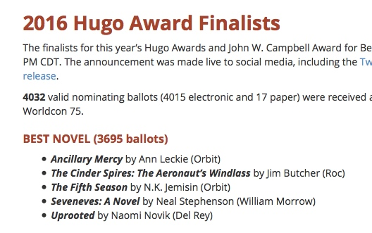 screenshot of Hugo Awards website, showing THE FIFTH SEASON among the Best Novel finalists